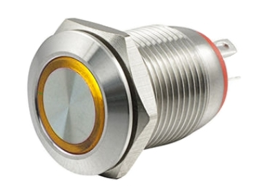 Кнопка M12 OFF-(ON) LED12V HBGQ 2A/36V 4c IP65 -желтая-
