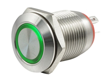 Кнопка M12 OFF-(ON) LED12V HBGQ 2A/36V 4c IP65 -зеленая-