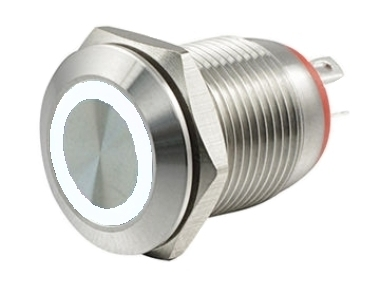Кнопка M12 OFF-(ON) LED12V HBGQ 2A/36V 4c IP65 -белая-