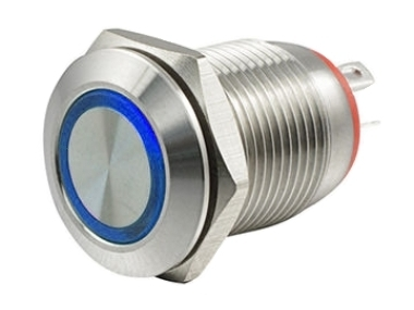 Кнопка M12 OFF-(ON) LED12V HBGQ 2A/36V 4c IP65 -синяя-