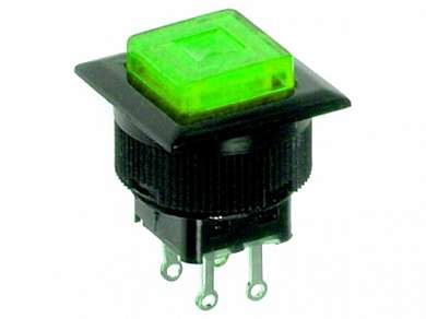Кнопка M16 OFF-(ON) RWD-313 LED 1.5A/250V 4c -зеленая-