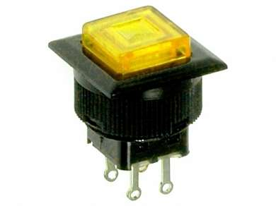 Кнопка M16 OFF-(ON) RWD-313 LED 1.5A/250V 4c -желтая-
