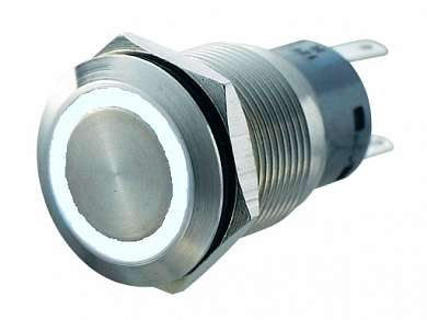 Кнопка M19 ON-(ON) LED12V 1NO1NC-PL 5A/250V 5c IP67 -белая-