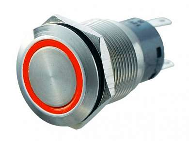 Кнопка M19 ON-(ON) LED12V 1NO1NC-PL 5A/250V 5c IP67 -красная-