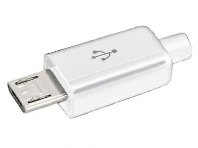 Штекер Micro USB-B 5-pin 8mm  Ni/Pl -белый-
