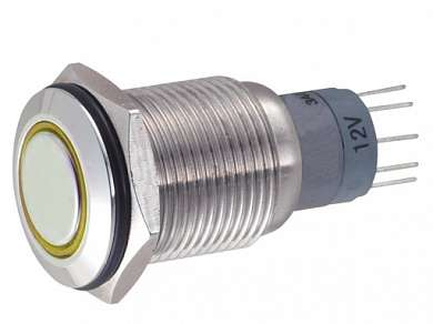 Кнопка M16 ON-ON LED12V JHC1 3A/250V 5c IP65 -желтая-