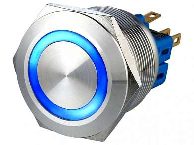 Кнопка M25 ON-(ON) LED12V 1NO1NC 5A/250V 6c IP67 -синяя-