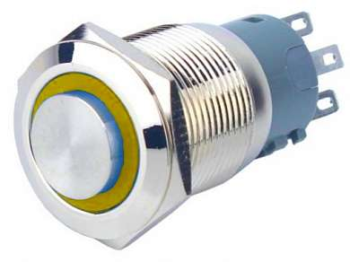 Кнопка M19 ON-(ON) LED12V 1NO1NC-G 5A/250V 5c IP67 -желтая-
