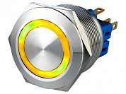 Кнопка M25 ON-(ON) LED12V 1NO1NC 5A/250V 6c IP67 -желтая-