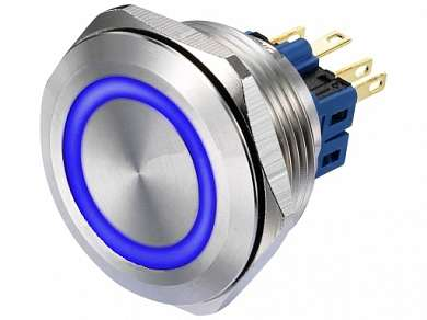 Кнопка M30 ON-(ON) LED12V 1NO1NC 5A/250V 6c IP67 -синяя-