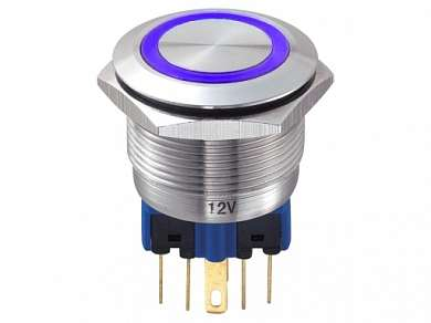 Кнопка M22 ON-(ON) LED12V 1NO1NC 5A/250V 6c IP67 -синяя-