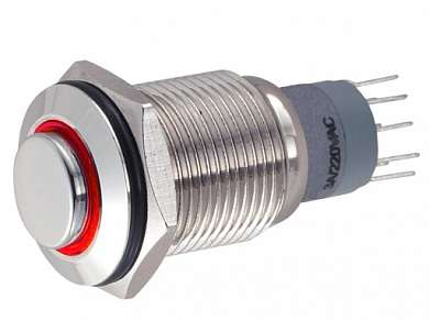 Кнопка M16 ON-ON LED12V JHC2 3A/250V 5c IP65 -красная-